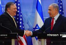 Menlu AS Mike Pompeo dan PM Israel Benjamin Netanyahu di Yerusalem. Menlu AS menyerahkan keputusan aneksasi atau pencaplokan wilayah Tepi Barat kepada Israel. Ilustrasi.